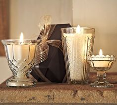 Filled Glass Candles, Set of 3 | Pottery Barn