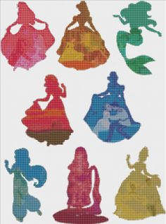 Disney Princess Silhouettes in Color Cross Stitch Pattern