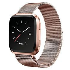UMTELE Fitbit Versa Band, Milanese Loop Stainless Steel Wristband Metal Mesh Strap with Unique Magnet Closure for Fitbit Versa, Large, Champagne Gold Fitbit Models, Apple Watch Accessories, Phone Accessories, Gold Apple Watch, Contract Design, Women Lifestyle, Metal Mesh, Fitness Tracker, Smartwatch