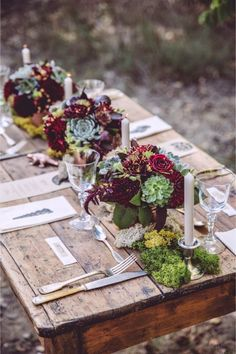 Rustic tablescape with succulent centerpieces and marsala hued flowers. Succulent Wedding Centerpieces, Rustic Centerpieces, Green Centerpieces, Deco Floral, Floral Design, Wedding Table Settings, Place Settings, Garden Table, Garden Planters