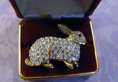 Exquisite Attwood & Sawyer A&S Figural Brooch Pin Bunny Rabbit Clear Rhinestones #AttwoodSawyerAS