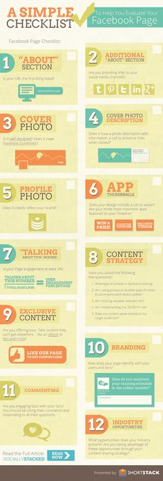 #Infographic: A Simple #Checklist To Help You Evaluate Your #Facebook page.