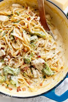 Skinny ONE POT Chicken Bacon Fettuccine Alfredo with NO HEAVY CREAM, butter or flour! Only one pot to wash up, with the pasta being cooked right IN the pot!