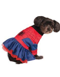 Déguisement pour chien Spider Girl™ : Ce déguisement de Spiderman™ pour chien est sous licence officielle Marvel™. Il se compose d'une petite robe bleue et rouge. Un petit tulle rouge à paillettes est...