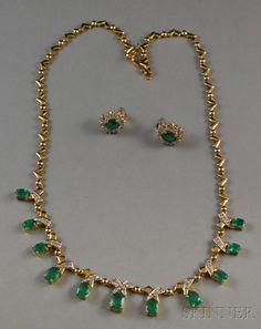 Gold, Emerald, and Diamond Necklace and Similar Earstuds Jewelry Design Earrings, Gold Earrings Designs, Necklace Designs, Jewellery, Gold Necklace Simple, Gold Jewelry Simple, Mens Gold Jewelry, Emerald Jewelry, Chains