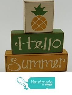 Hello Summer - Pineapple - Primitive Country Distressed Wood Stacking Sign Blocks Seasonal Holiday Summer Spring Home Decor from Blocks Upon A Shelf http://www.amazon.com/dp/B01EB2336K/ref=hnd_sw_r_pi_dp_b15uxb0ZV4YYZ #handmadeatamazon