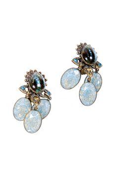 Multi-Jeweled Clip Earrings