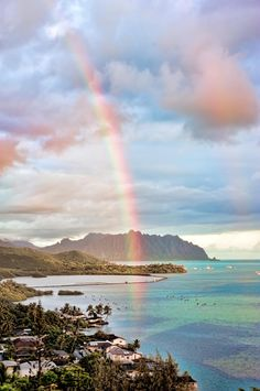 Sunrise Rainbow over Kaneohe Bay on the Windward side of Oahu, Hawaii