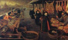 Meat & fish market in the winter by  Lucas van Valkenborgh (1535-1597), Netherlands