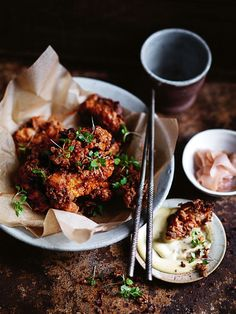 crispy miso and ginger fried chicken with miso mayonnaise from donna hay magazine winter issue 81 (Fried Food Recipes) Asian Recipes, Healthy Recipes, Healthy Food, Paleo, Good Food, Yummy Food, Tasty, Think Food, Fried Chicken Recipes