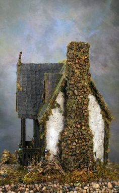 "That's a seriously awesome chimney. Now I know what to do with the ""yard"" of my witchy chateau. Ravenwing Cottage Witch's Dollhouse Custom Order For the Seriously Wicked Gnome House, Witch House, Halloween Village, Halloween House, Haunted Dollhouse, Dollhouse Miniatures, Witch Cottage, Santa Ana, Fairy Houses"