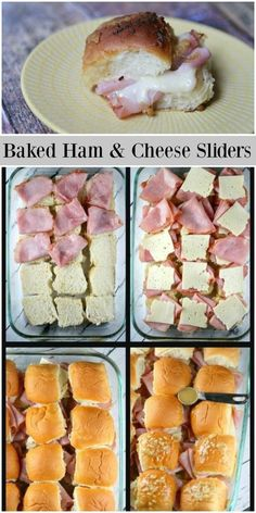 Baked Ham and Cheese Sliders recipe from via can find Snacks for party and more on our webs. Super Bowl Party, Ham Cheese Sliders, Ham And Cheese Sliders Hawaiian, Ham And Swiss Sliders, Beef Sliders, Cheese Burger, Super Bowl Essen, Sandwiches, Easy Party Food