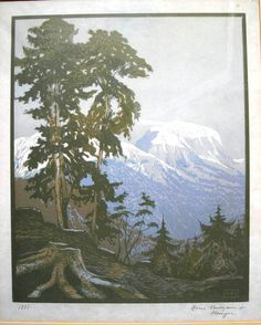 ✨  Hans Neumann jr., München - Baum vor alpinem Gebirgsstock [1], 1921, Farbholzschnitt, handsigniert, 32 x 26cm ::: Colour woodcut