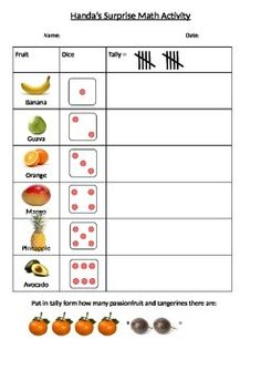 Teach children how to count with tally marks in this easy fun game. It links Handa's Surprise to maths! Maths Eyfs, Eyfs Activities, Nursery Activities, Math Literacy, Numeracy, English Units, English Book, Primary Teaching, Teaching Kids
