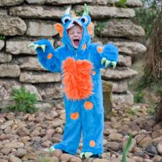 Blue Monster Fancy Dress Costume