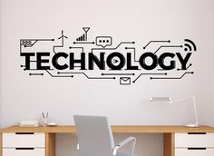 Technology Wall Decal Vinyl Sticker Science Education School Art Design Classroom Interior - Business Quotes & Tips - Technologie Office Wall Design, Office Walls, Office Decor, Science Classroom, Science Education, Classroom Decor, Education Week, Education Center, Classroom Design