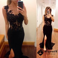 DIYouth.com 2015 Long Split illusion Neck Black Lace Prom Dress Formal Evening Gown, lace evening dresses, sexy party dresses