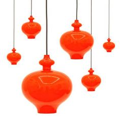 Sensuous Glass Pendants by Staff, 1970s   From a unique collection of antique and modern chandeliers and pendants  at https://www.1stdibs.com/furniture/lighting/chandeliers-pendant-lights/