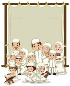 Buy Muslim by interactimages on GraphicRiver. Muslim family and wooden frame Hijab Anime, Anime Muslim, Muslim Pray, Muslim Religion, Islamic Cartoon, Islam For Kids, Muslim Family, Islamic Girl, Art Drawings For Kids
