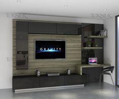 Un centro de entretenimiento elegante y diseñado para espacios sofisticados, además de funcional maneja una estética donde se sabe combinar las texturas brillantes con las vetas de madera.