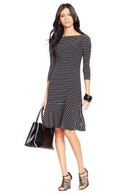 Striped Drop-Waist Dress - Lauren Short Dresses - Ralph Lauren UK