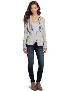 Silver Jeans Juniors Shawl Collar French Terry Cardigan Silver Jeans. $44.99. 80% cotton/20% polyester. Machine Wash. Flattering in the back with gathering. Zip up cardigan. Made in China