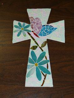 Butterfly mosaic cross
