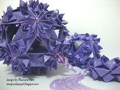 Móbile origami  com kusudama Hana-mi Orquídea - Flaviane Koti