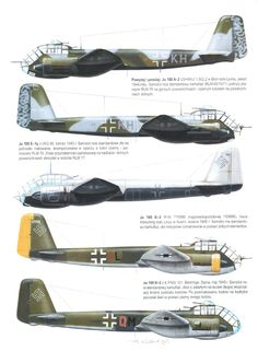 Various Ju-188 twin-engine special purpose aircraft.