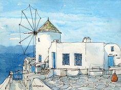 Titel: Santorini Oia Windmühle Dies ist eine von meinen original Federzeichnung und Aquarell Druck alterungsbeständigem. Gedruckt auf hochwertigem Archiv, 192 g/m ² Papier mit Archiv, Pigmenttinte. Bitte kontaktieren Sie mich, wenn Sie Interesse am Kauf eines Originals sind Gemälde oder