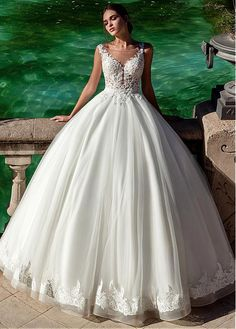 f5ac334e3ff Buy discount Gorgeous Tulle Scoop Neckline Ball Gown Wedding Dress With  Lace Appliques   Beadings at Ailsabridal.com