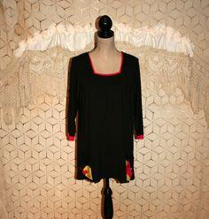 Black Tunic Top Loose Fit 3/4 Sleeve Black Blouse by MagpieandOtis