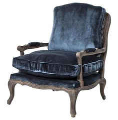 Sasha Blue Velvet French Style Oak Bergere Arm Chair   Kathy Kuo Home