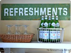 Pottery-Barn-Knock-Off-Refreshments-Sign Made with old door kick plate