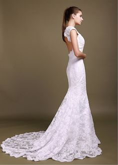 Brilliant Over Lace Mermaid V-neck Cap Sleeves Wedding Gown