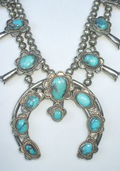 Le Perfect SQUASH BLOSSOM NECKLACE Traditional BLUE TURQUOISE Sterling Silver | eBay