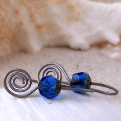 Hypoallergenic Earrings for Sensitive Ears, Pure Titanium Earrings, Czech Glass Bead Earrings with Titanium Wire, Sapphire Blue by mompotter on Etsy
