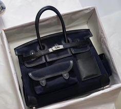 Hermes Limited Edition Cargo Birkin 35 cm Black Swift and canvas Lv Handbags, Luxury Handbags, Louis Vuitton Handbags, Embossed Fabric, Big Bags, Men's Bags, Celine Bag, Online Fashion Boutique, Hermes Birkin