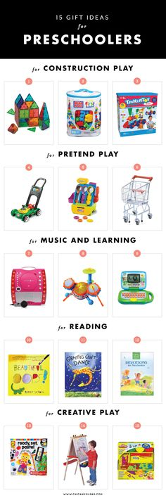15 Gift Ideas for Preschoolers for each type of play. | www.chicandsugar.com