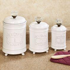 Superb Kitchen Kitchen Canisters Circa White Ceramic Kitchen Canister Set: White  Canisters For Kitchen