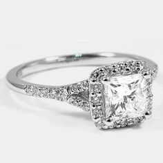 Platinum Harmony Ring // Set with a 1.00 Carat, Princess, Ideal Cut, G Color, SI1 Clarity Diamond