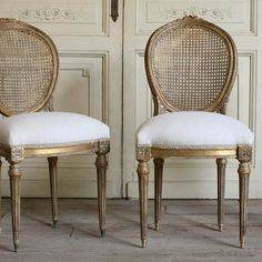 Pair Of Vintage Cane Side Chairs