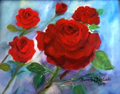 """Roses for Andrea"" oil on canvas  Art by Beverly J Raffaele"