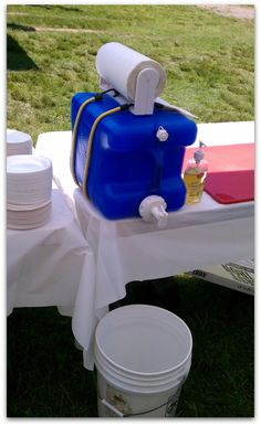 For camping! Hand Washing Station - perfect for my OCD!!
