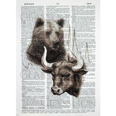 The terms bull market and bear market describe upward (bull) and downward (bear) market trends. This is a great gift for the financial head or Wall Street, Street Art, Bull Painting, White Prints, Dictionary Art, Bear Art, Texture Art, Animal Paintings, Wallpaper