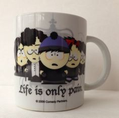 2009 South Park Life Is Only Pain Mug Gothic Goth Kids Comedy Partners Coffee. Art Activities For Kids, Art For Kids, Clyde South Park, South Park Goth Kids, South Park Funny, Kids Comedy, Trey Parker, Samantha Smith, Best Cartoons Ever