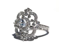 14k white gold Floral Round Diamond ring by BeautifulPetra.