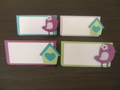 Bird Chick Food Tents Buffet / Place Cards Birthday Party Baby Shower Set of 6 Purple Aqua Teal Green