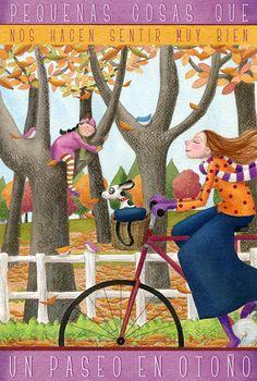 via face book. Dachshund, Bicycle Art, Bike, Woman Illustration, Naive Art, Illustrations, Dog Art, Cute Art, Autumn Leaves