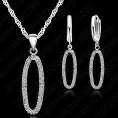 Elégant mariage romantique fiançailles nuptiale collier Earring Jewelry Set haute qualité en argent 925 avec Zircon